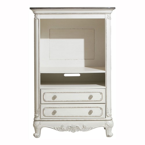 Cinderella Armoire - Antique White with Gray Rub-Through