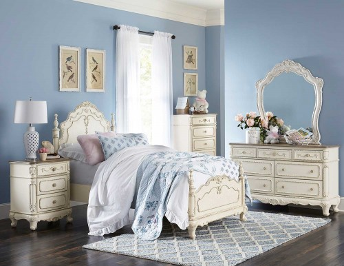 Cinderella Bedroom Set - Antique White with Gray Rub-Through