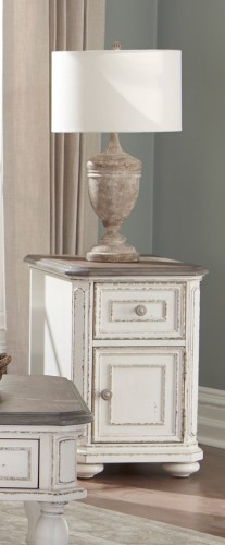 Willowick Chairside Table with Functional Drawer and Cabinet - Antique White Rub-Through/Brown Cherry Tops