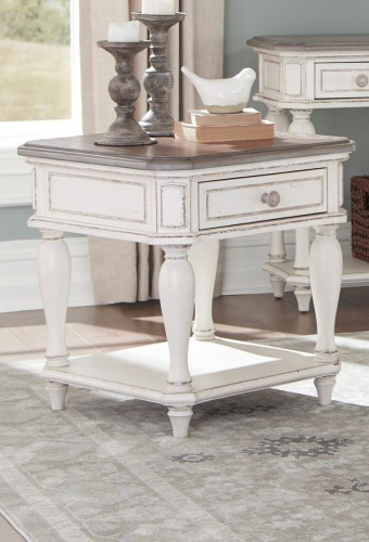 Willowick End Table with Functional Drawer - Antique White Rub-Through/Brown Cherry Tops