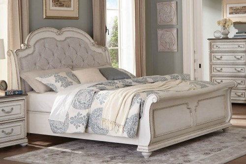 Willowick Sleigh Bed - Antique White Finish