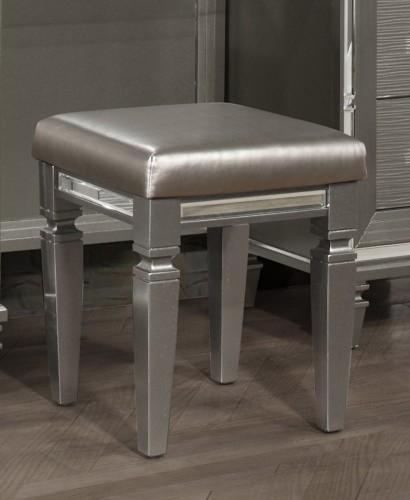 Tamsin Vanity Stool - Silver-Gray Metallic