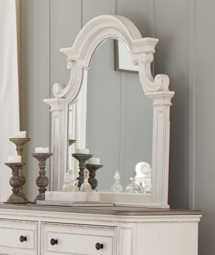 Baylesford Mirror - Antique White Rub-Through Finish