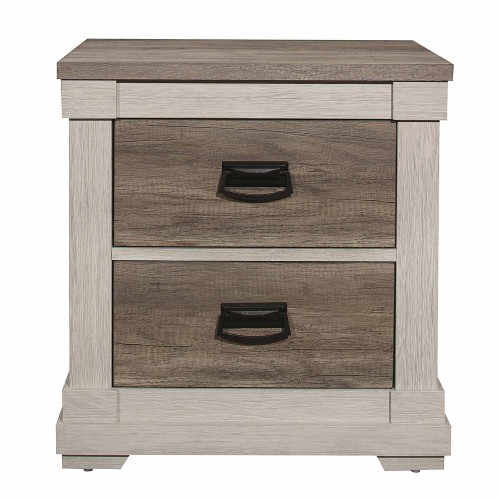 Arcadia Night Stand - White Framing and Variegated Gray Printed Faux-Wood Grain Veneer