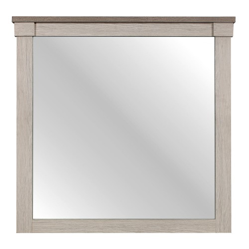 Arcadia Mirror - White Framing and Variegated Gray Printed Faux-Wood Grain Veneer
