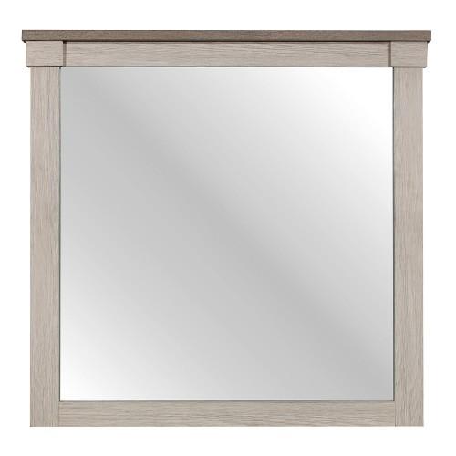Arcadia Mirror - White Framing and Variegated Gray Printed Faux-Wood Grain Veneer