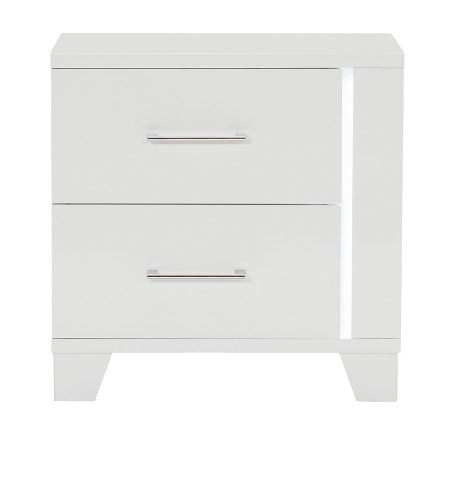 Kerren or Keren Night Stand with LED Lighting - White High Gloss