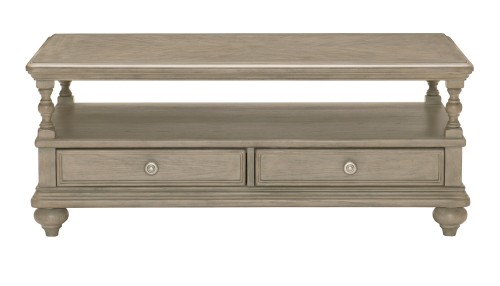 Grayling Down Cocktail Table with Two Functional Drawers - Driftwood Gray