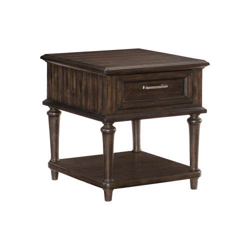Cardano End Table with Functional Drawer - Driftwood Charcoal