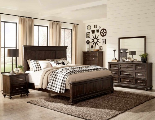 Cardano Bedroom Set - Driftwood Charcoal over Acacia Solids and Veneers