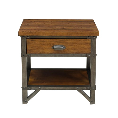 Holverson Night Stand - Rustic Brown Milk Crate Finish