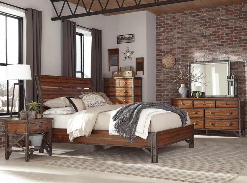 Holverson Bedroom Set - Rustic Brown Milk Crate Finish