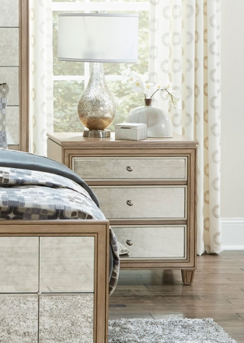 Kalette Night Stand - Light Oak - Antiqued mirrored