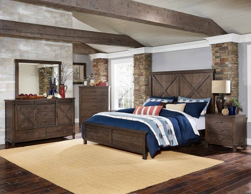 Hill Creek Panel Bedroom Set - Rustic Brown