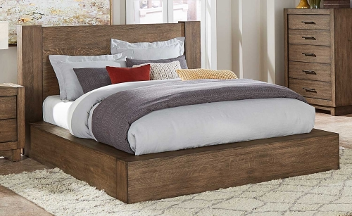 Korlan Platform Bed - Brown Oak
