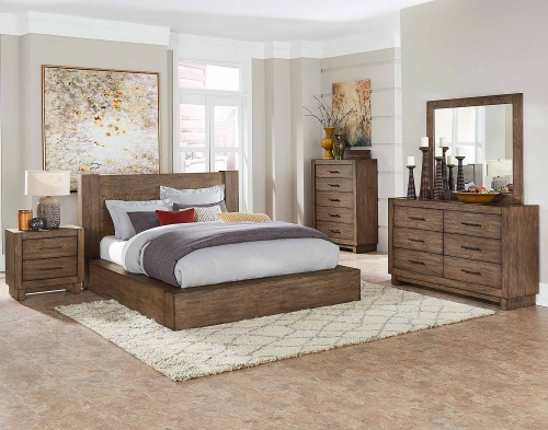 Korlan Platform Bedroom Set - Brown Oak