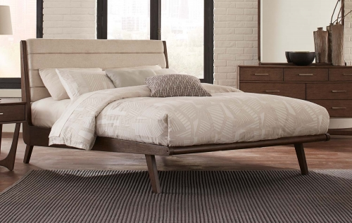 Ruote Upholstered Platform Bed - Brown-Gray
