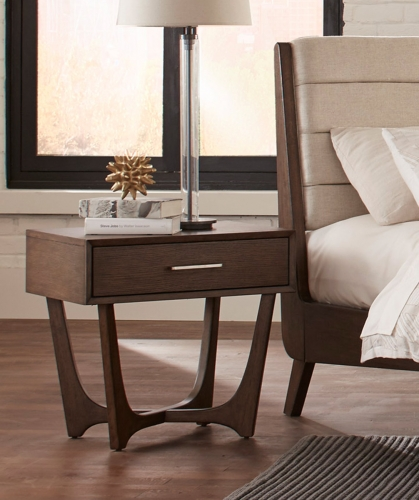 Ruote Night Stand - Brown-Gray