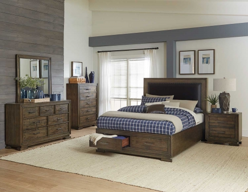 Griffon Platform Storage Bedroom Set - Antique Brown