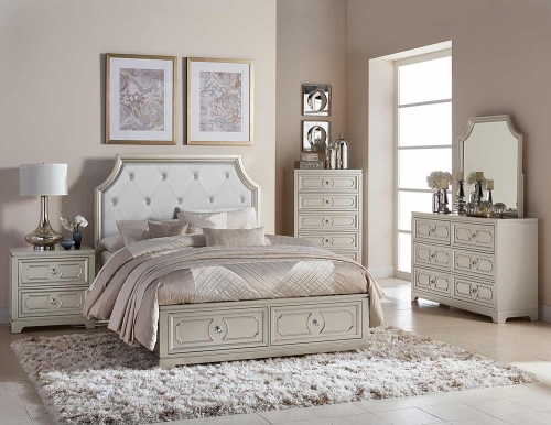 Libretto Platform Bedroom Set - Silver - Light Gray Bi-Cast Vinyl