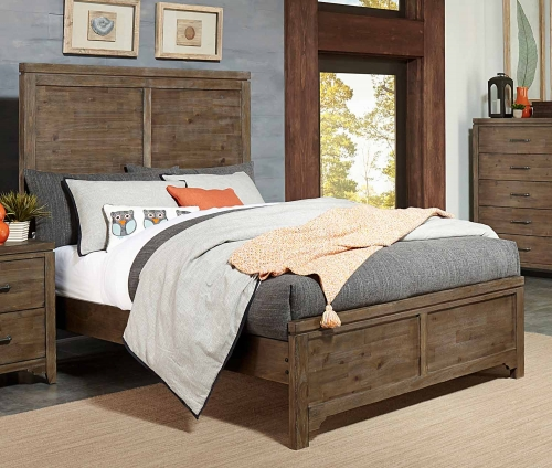 Lyer Panel Bed - Rustic Brown