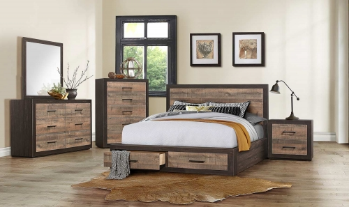 Miter Platform Bedroom Set - Mahogany & Ebony