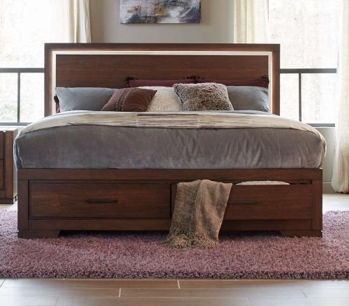 Ingrando Platform Bed - Walnut - LED