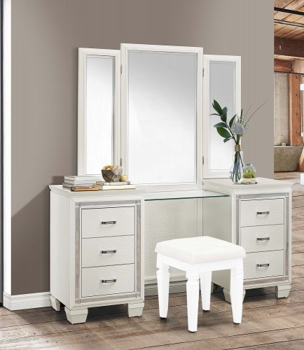 Allura Vanity Dresser with Mirror - White