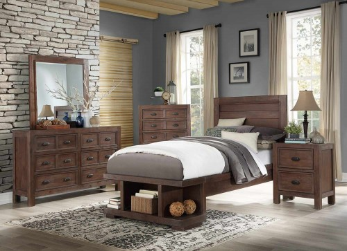 Wrangell Platform Bedroom Set - Medium Cherry