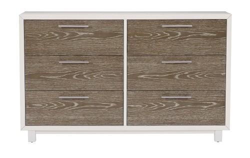 Renly Dresser - Natural Finish of Oak Veneer with White Framing