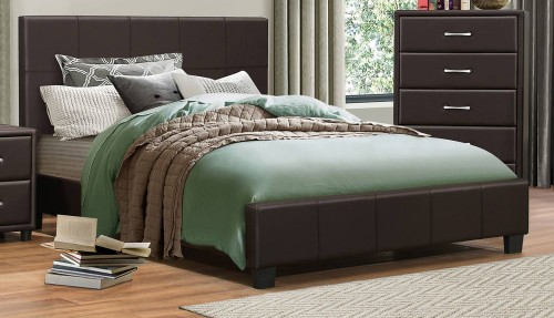 Lorenzi Platform Bed - Dark Brown Vinyl