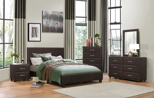 Lorenzi Bedroom Set - Dark Brown Vinyl