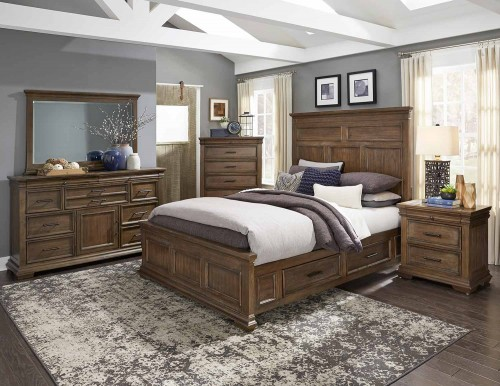 Narcine Bedroom Set - Oak Veneer with Gray Finish