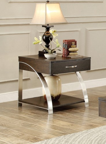 Tioga End Table with Functional Drawer - Espresson