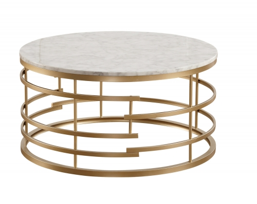 Brassica Round Cocktail/Coffee Table with Faux Marble Top - Gold - White Marble Top