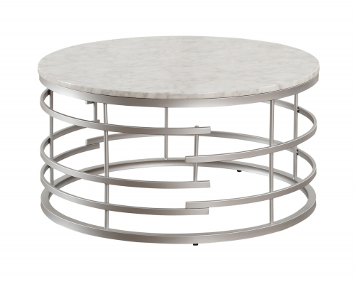 Brassica Round Cocktail/Coffee Table with Faux Marble Top - Silver - White Marble Top