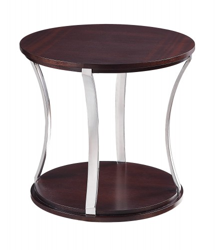 Bevan Round End Table - Dark Cherry