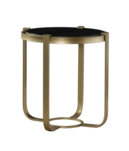 Caracal Round End Table with Black Glass Insert - Gold