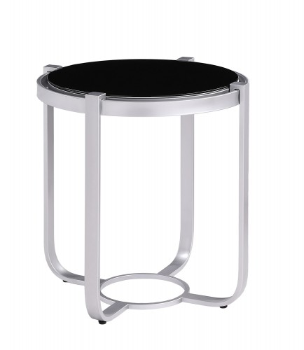 Caracal Round End Table with Black Glass Insert - Silver