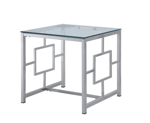 Yesenia End Table with Glass Top - Chrome