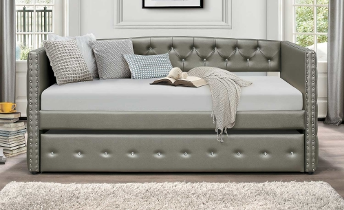 Trill Daybed with Trundle - Silver Vinyl