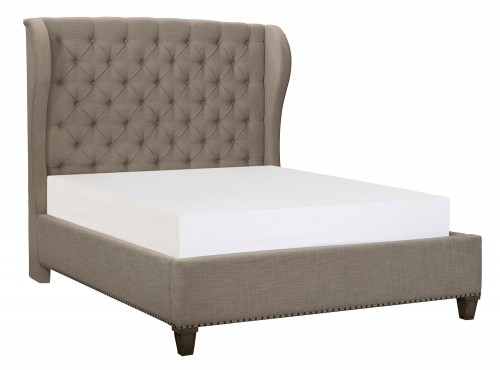 Vermillion Upholstered Bed - Bisque Finish with Oak Veneer
