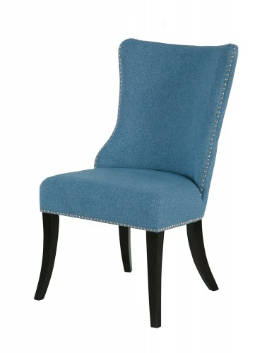 Salema Side Chair - Blue - Dark Brown