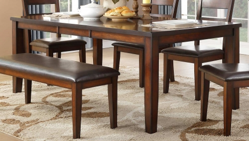 Mantello Dining Table - Cherry - Dark Brown Bi-Cast Vinyl