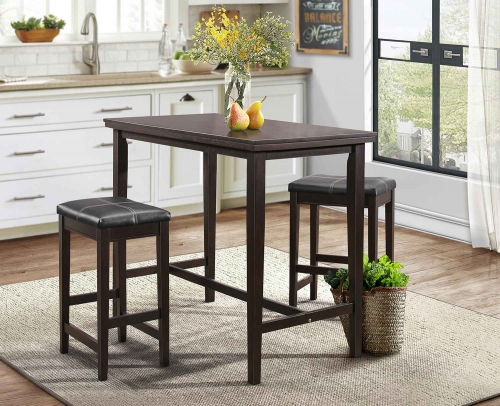 Tirel 3-Piece Pack Counter Height Set - Dark Brown - Dark Brown Bi-Cast Vinyl
