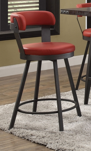 Appert Swivel Pub Height Chair - Red - Black Bi-Cast Vinyl