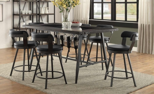 Appert Counter Height Dining Set - Black - Black Bi-Cast Vinyl