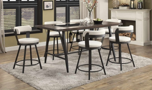 Appert Counter Height Dining Set - White - Black Bi-Cast Vinyl