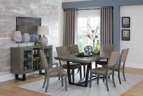 Avenhorn Dining Set - Gray - Black Metal