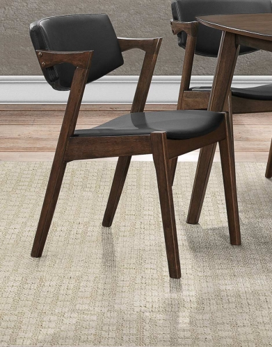 Coel Side Chair - Dark Ash Venner - Black Bi-Cast Vinyl